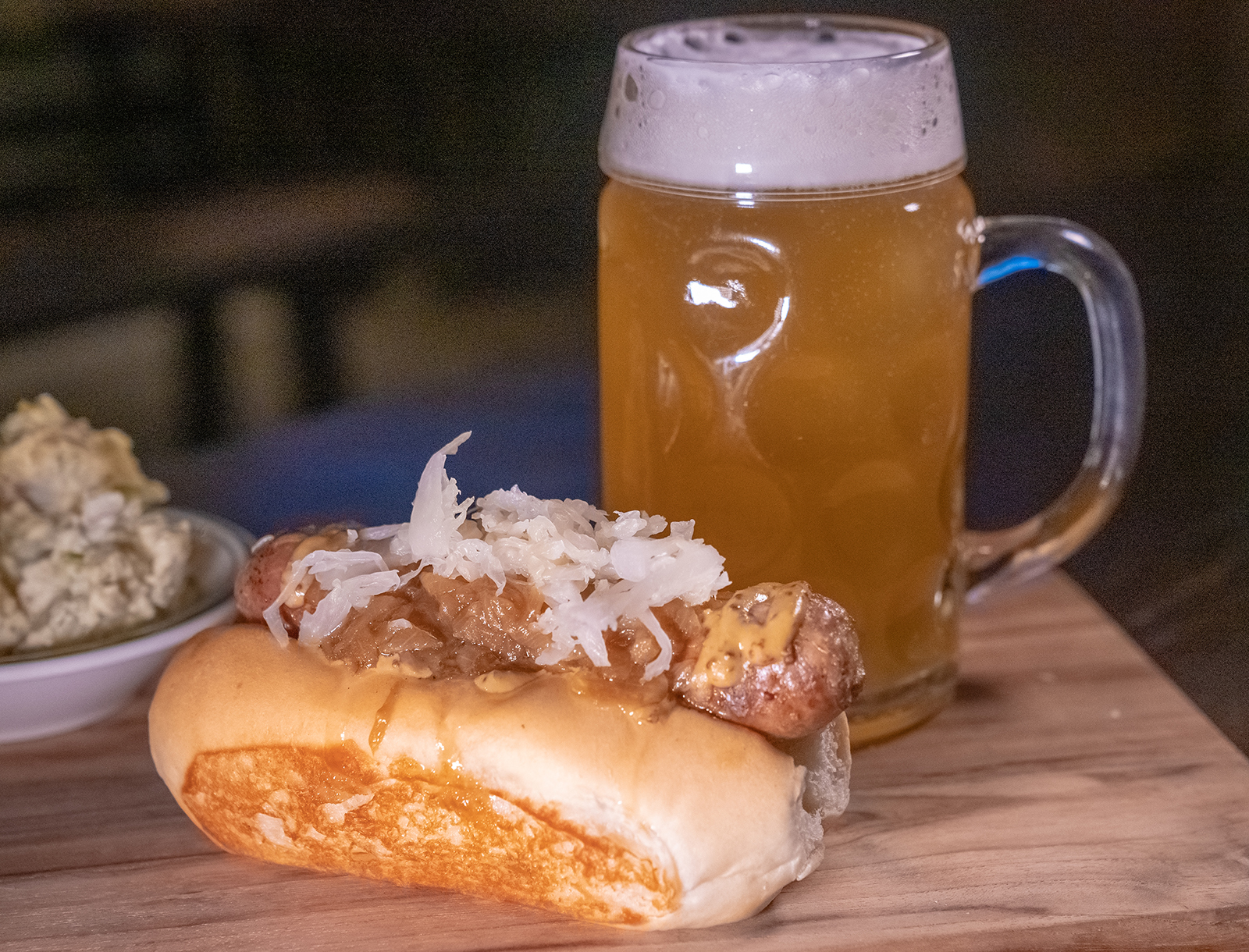 classic german sausage with beer